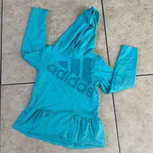 Girl's Adidas Blue Heather Ruffle-Hem Hoodie